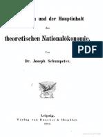 Schumpeter - Das Wesen und der Hauptinhalt der theoretischen Nationalökonomie