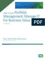 Service Portfolio Management - Manage IT for Business Value