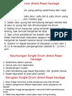 Single Drum Direct Rope Haulage