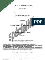 Maths Bac général S spécialité 2 métro+réunion