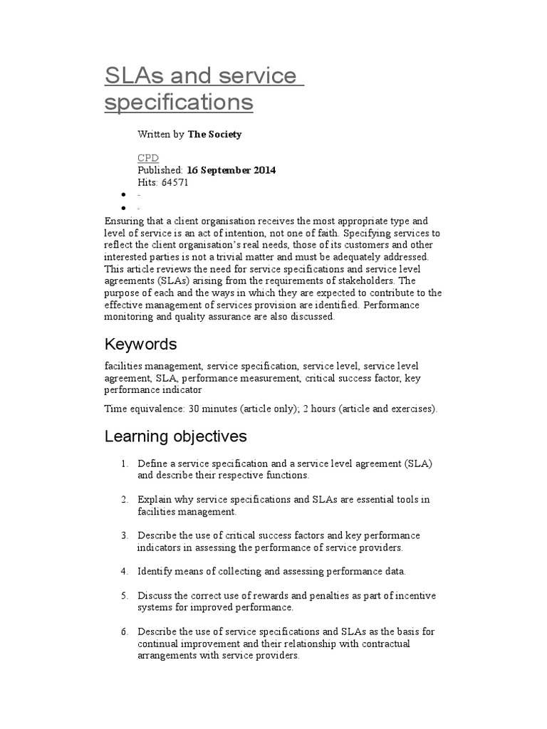 Slas And Service Specifications Service Level Agreement