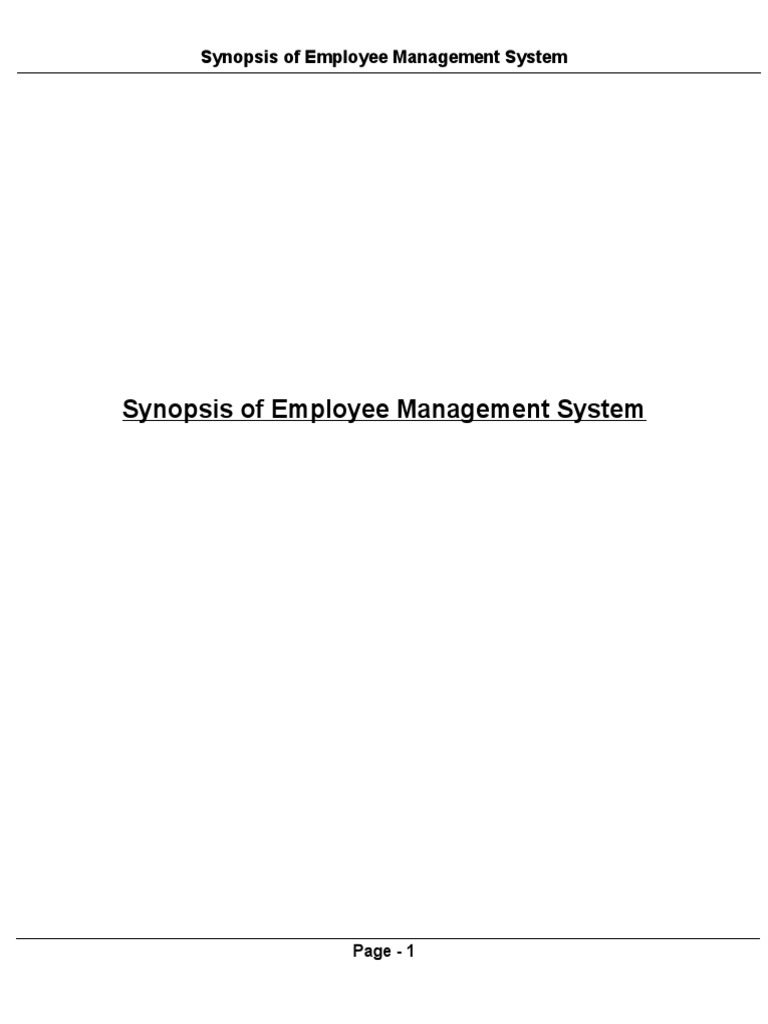 synopsis of employee management system | relational database | model