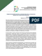 Declaracion Final Encuentro Nacional Universitario Por La Equidad de Genero en La Educacion Superior Noviembre 2016