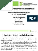 Condições legais e administrativas de uma usina de Biogás
