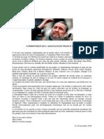 Comunicado de la asociación France-Cuba
