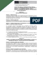 Proyecto de Decreto Legislativo que crea Sistema Nacional para la Transparencia