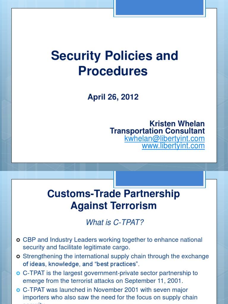 c tpat security policies and procedures computer security online rh scribd com