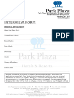 Park Plaza Hotel Interview Form
