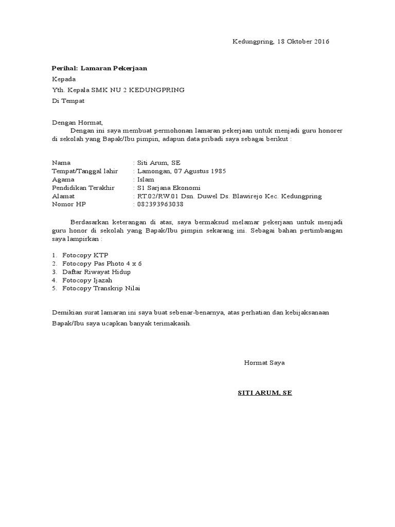 Contoh Surat Permohonan Perpanjangan Sk Honorer Guru Paud