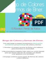 Bingo de Colores y Formas de Elmer by Rukkia (A4)