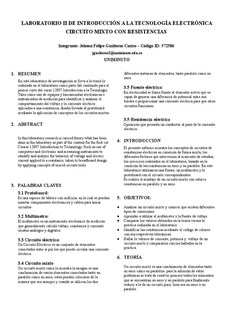Informe Laboratorio 2 Introducción a La Tecnologia