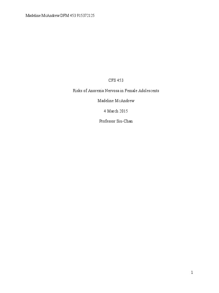 Research paper on eating disorders