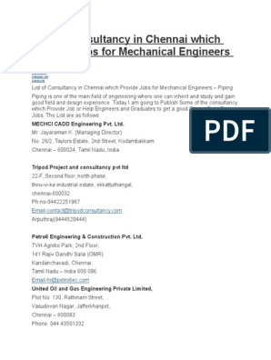 List Of Consultancy In Chennai Which Provide Jobs For Mechanical Engineers Labour Technology