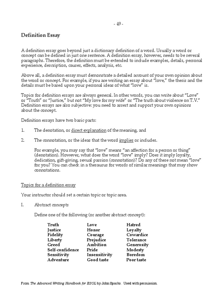samples of definition essays In this lesson, we will explore the components of the exemplification essay and how it uses specific examples in order to try and convince your.
