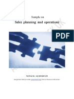 Sample on Sales Planning and Operations
