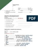 werkblad- ontkenennde en bevestigende zinnen