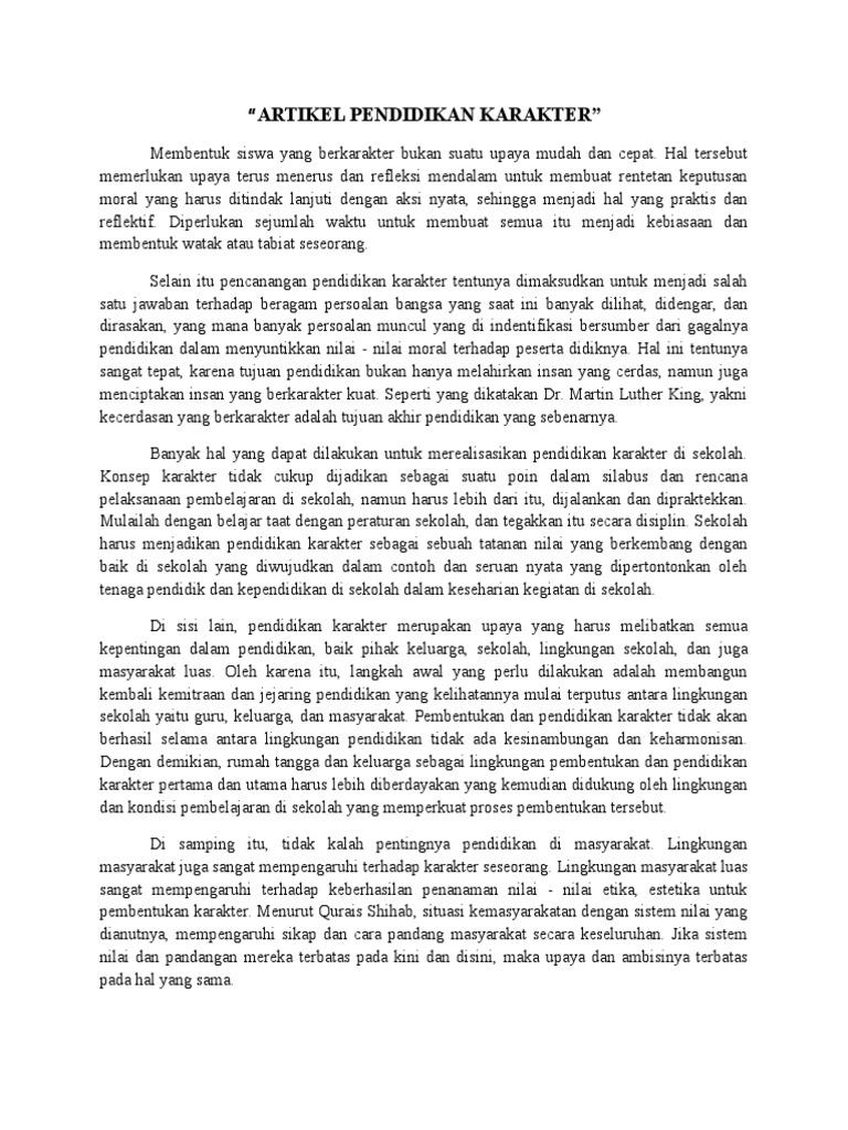Artikel Pendidikan Karakter