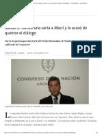 Massa Le Mandó Una Carta a Macri y Lo Acusó de Quebrar El Diálogo - 13.12