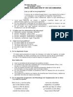 Preguntas Para Evaluación 5º de Secundaria