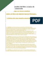 Resumen y Analisis Del Libro Cronica de Una Muerte Anunciada