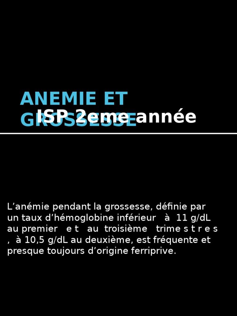 anemie 1 mois de grossesse)