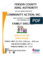 Family Shelter Open House Invitation and Flyer