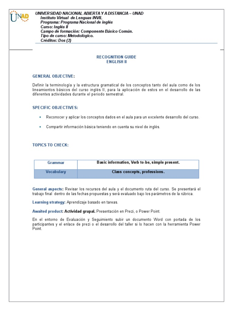 Recognition Guide English 2