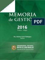 UNMSM - MEMORIA ENERO - MAYO 2016