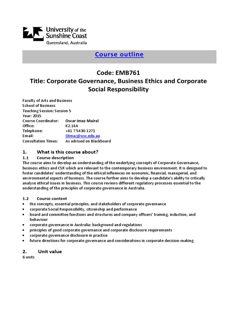 Course Outline Session | Governance | Corporate Governance