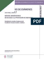 Calendario de exámenes Máster Abogacía 16-17