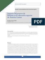 Impacto del proceso de Bolonia en la educación superior de América Latina