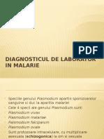 Diagnosticul de Laborator in Malarie