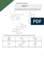 Stereochemistry Worksheet Lab
