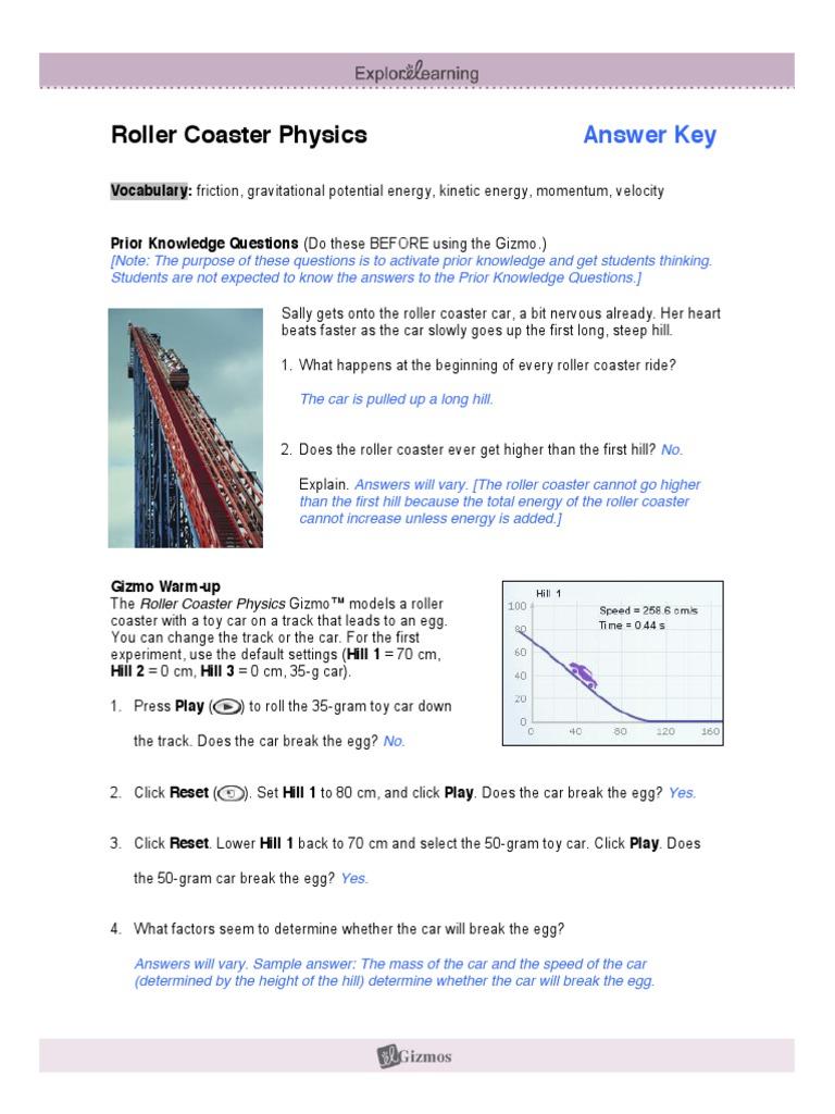 RollerGizmoANSpdf Kinetic Energy – Roller Coaster Physics Worksheet