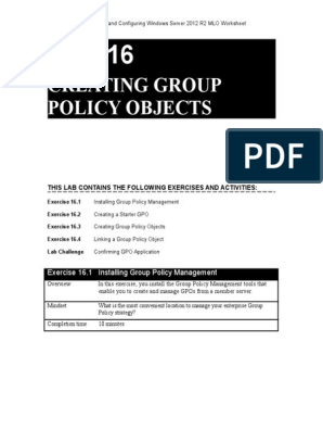 70-410 R2 MLO Worksheet Lab 16 | Group Policy | Utility Software