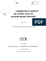 Subjective Interpretation of Reliability and Accuracy Scales For Evaluating Military Intelligence