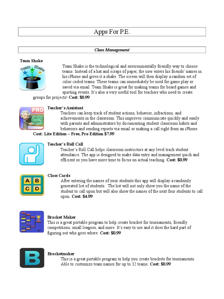 apps for pe | Physical Education | Physical Exercise