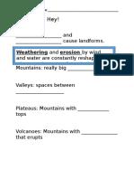 landforms worksheet