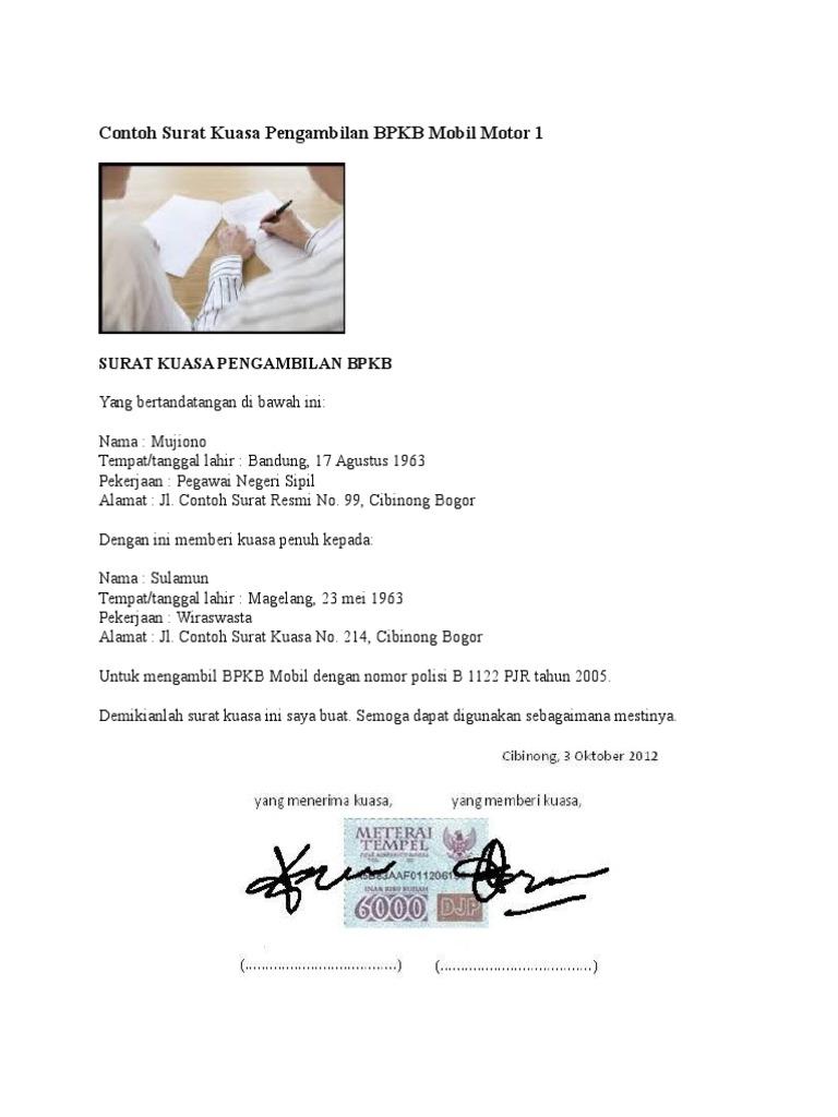 Surat Kuasa Pengambilan Bpkb Motor