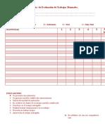 Pauta de Evaluación de Trabajos Manuales