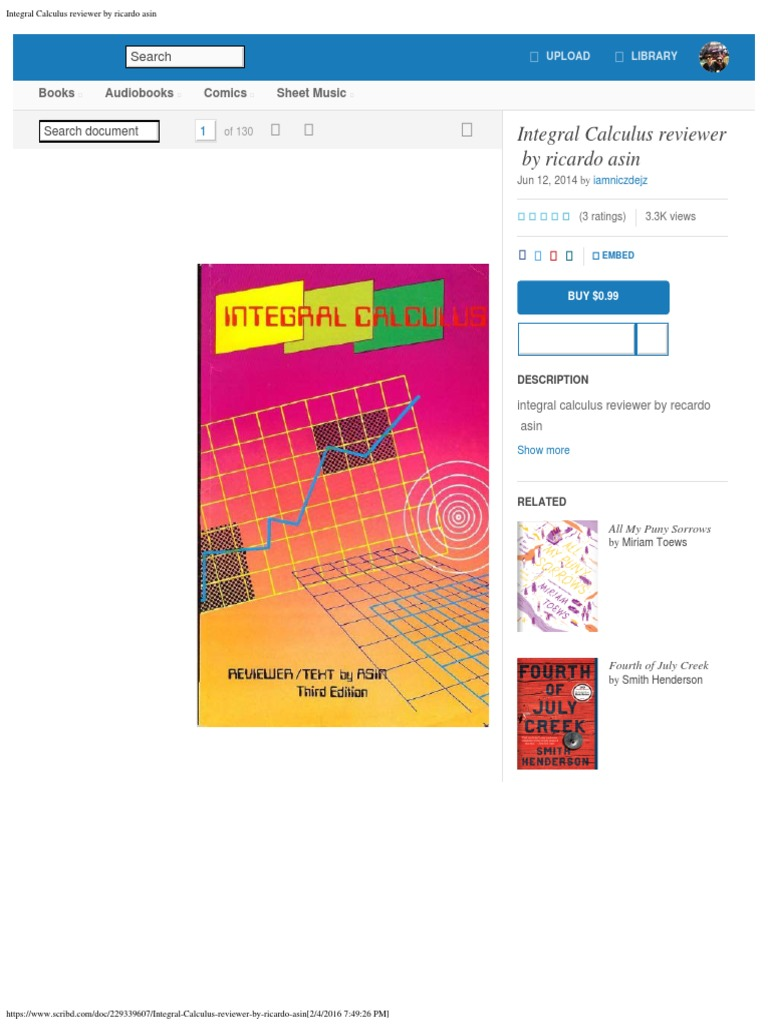 Integral calculus reviewer by ricardo asinpdf fandeluxe Images