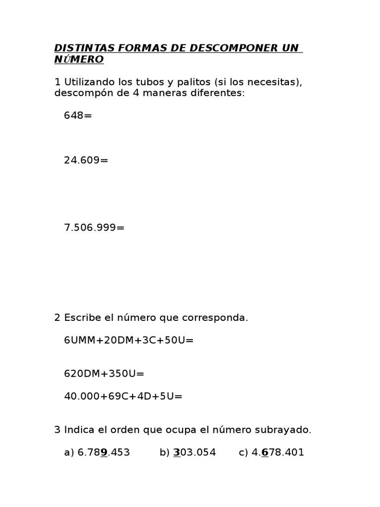 Matemáticas 4 Descomposicion Numeros Romanos