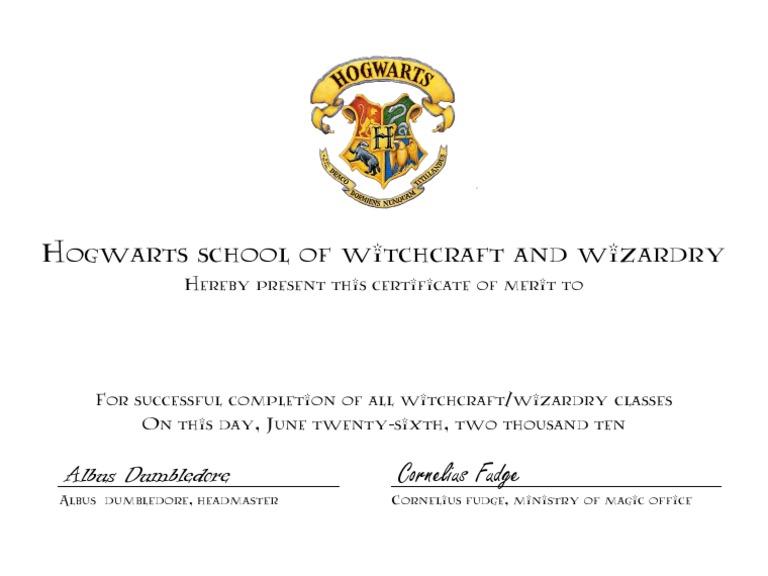 hogwarts certificate template - hogwarts certificate
