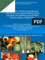 Efecto de la fertilización con calcio en las características de calidad en tubérculos de papa nativa para la industria (PowerPoint)