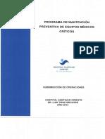 Programa Mantencion Preventiva de Equipos Medicos Criticos