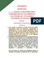 Ordinario Riedeusa Bloque 1-5 (Resguardar la información y elaboración de documentos electrónicos, utilizando software de aplicación.)