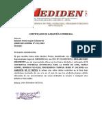 Certificado de Garantía Comercial