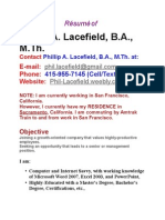 Professonal Resume of Phillip a. Lace Field, B.a., M.th.