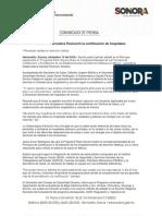 13-12-16 Inicia Gobernadora Pavlovich la certificación de hospitales. C-121660