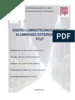 Diseño luminotécnico para el alumbrado exterior de la  FCYT UMSS